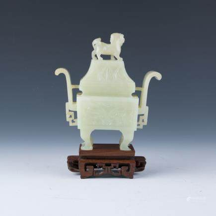 A Pale Celadon Censer and Cover