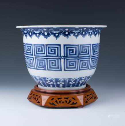 A Blue and White Jardiniere, 19th Century