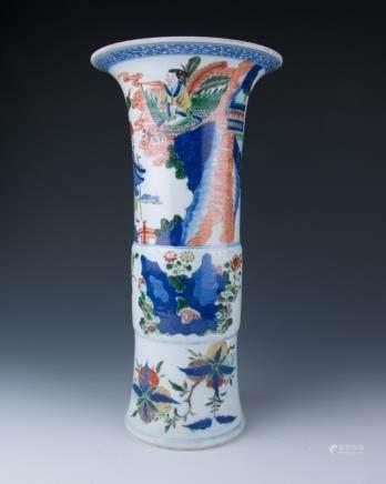 A Large Wucai Beaker Vase