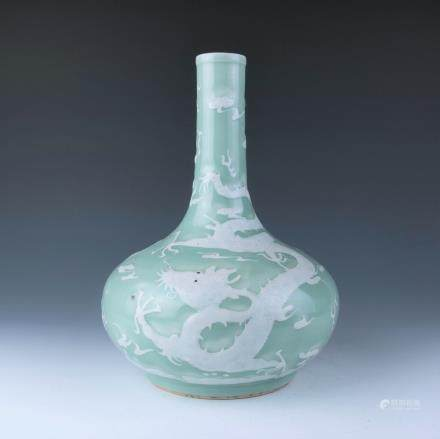 A Slip-Decorated Celadon Glazed Vase, 19th Century
