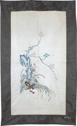 An Embroidered Silk Moonlight-Ground 'Mandarin Ducks'