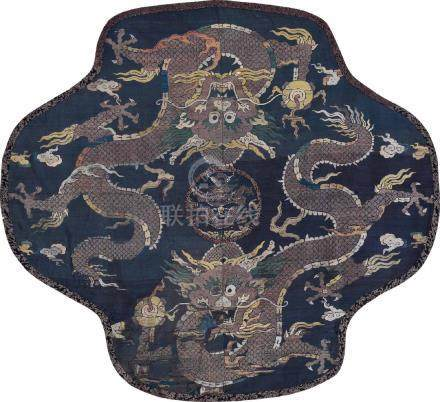 An Embroidered Silk 'Dragon' Panel