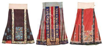 A Set Of Three Pieces Of Embroidered Silk Skirts