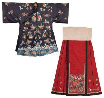 An Embroidered Silk Woman's Coat And A Red-Ground Skirt
