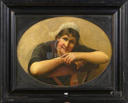 """Huile sur toile """"Portrait d'une dentellière"""". Signé en bas à"""