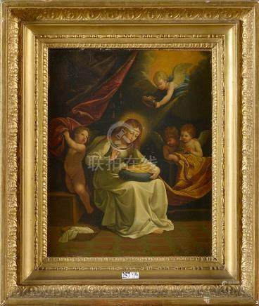 """Huile sur cuivre """"La Vierge cousant"""". Atelier de Guido Reni."""