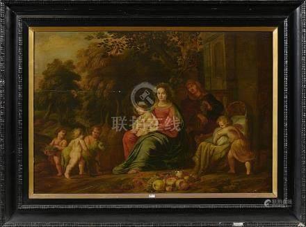 """Huile sur panneau de chêne """"La Vierge à l'Enfant accompagnée"""