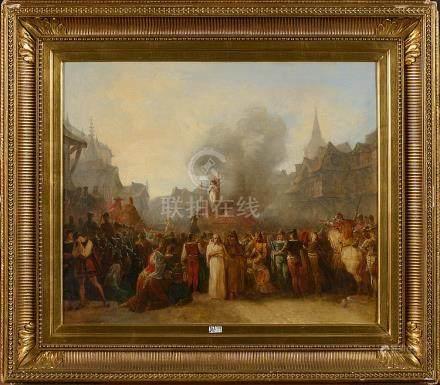 """Huile sur toile marouflée sur toile """"Jeanne d'Arc sur le bûc"""