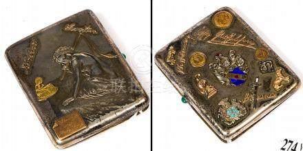 Etui à cigarettes en argent 84 zolotnik et or jaune décoré d