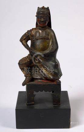 """Wenchang Dijun"" (?) en bronze portant des traces de polychr"