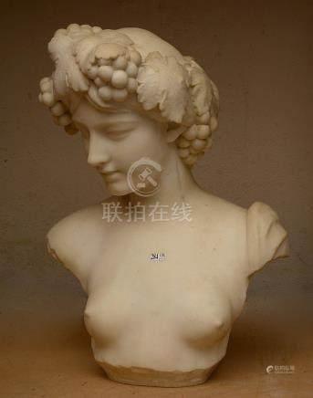 """""""Buste de Madame Lambeaux"""" (?) en marbre blanc. Signé au dos"""