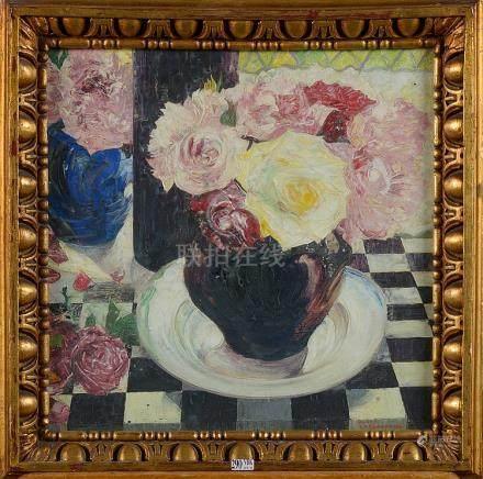 """Huile sur toile """"Le bouquet de roses"""". Signé en bas à droite"""