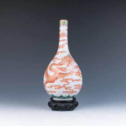 A Red Dragon Bottle Vase