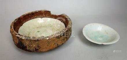 Deux coupes en céramique à glaçure céladon Qingbai Chine