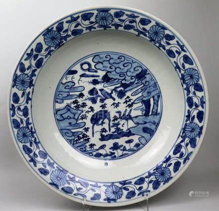 Grand plat en porcelaine bleu blanc Chine