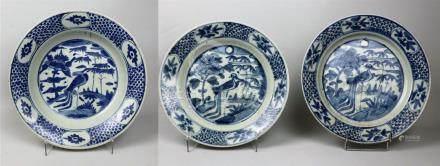 Trois petits plats en porcelaine bleu blanc  Chine