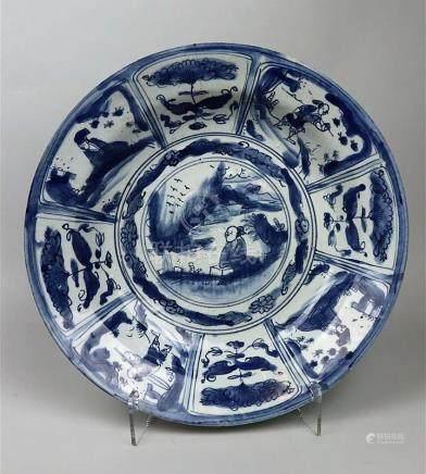 Plat en porcelaine bleu blanc Kraak Chine