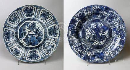 Deux plats en porcelaine bleu blanc Kraak Chine
