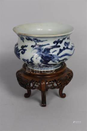 Petit brûle-parfum en porcelaine bleu blanc  Chine