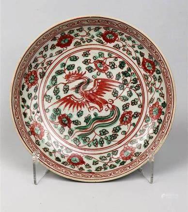 Assiette en porcelaine à décor rouge et vert Chine