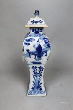 Petit vase couvert en porcelaine bleu blanc Chine