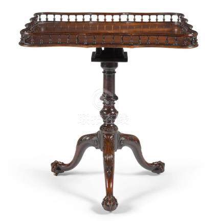 A GEORGE III MAHOGANY BRASS INLAID TRAY-TOP TRIPOD TABLE, CI