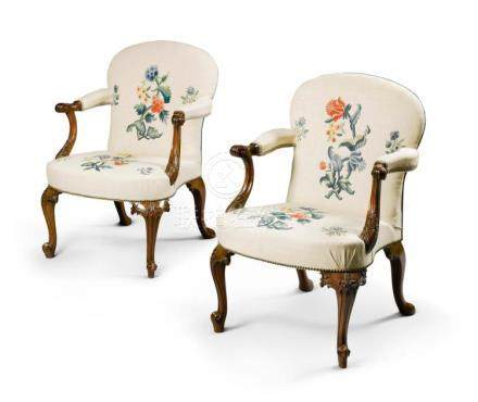 A PAIR OF GEORGE III CARVED MAHOGANY ARMCHAIRS, CIRCA 1760 |