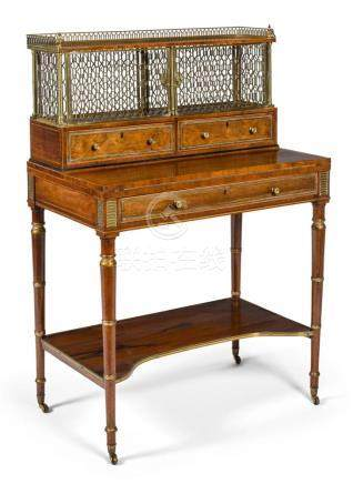 A REGENCY BRASS MOUNTED ROSEWOOD AND PARCEL-GILT BONHEUR-DU-