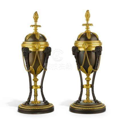 A PAIR OF GEORGE III PATINATED BRONZE AND GILT-BRASS CASSOLE