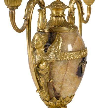 A GEORGE III GILT-BRONZE MOUNTED BLUE JOHN TWO-LIGHT CANDELA