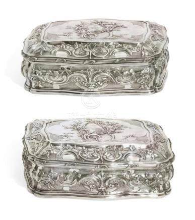A PAIR OF GEORGE III SILVER-GILT CASKETS, LEWIS HERNE AND FR