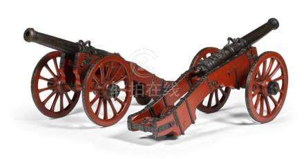 A PAIR OF FRENCH BRONZE SALUTING CANNON, DATED 1708 |