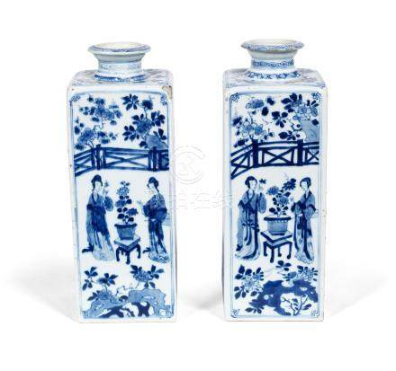 A pair of blue and white 'Long Elizas' square bottles Kangxi (2)