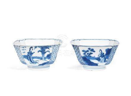 A pair of blue and white square bowls Chenghua six-character marks, Kangxi (2)