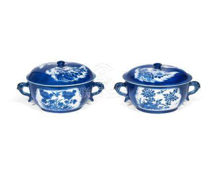 A pair of powder-blue ground bowls and covers Kangxi (4)