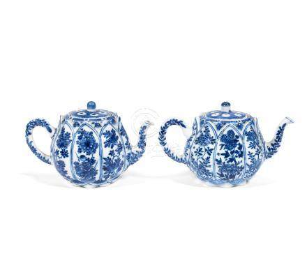 A matched pair of moulded 'lotus seed pod' teapots and covers Kangxi (4)