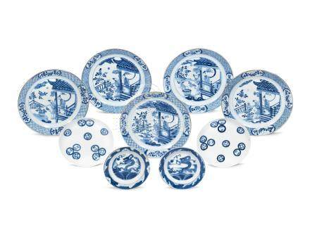 A set of five blue and white 'Long Eliza' dishes Kangxi-19th century (9)