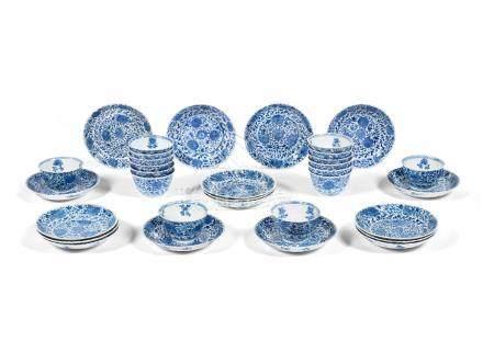 A group of sixteen 'floral' tea bowls and saucers Kangxi (33)