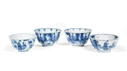 Two pairs of blue and white bowls Kangxi (4)
