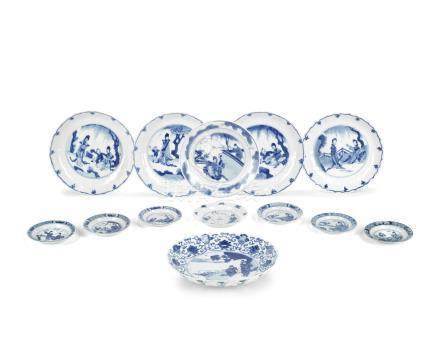 A group of blue and white dishes Kangxi (13)