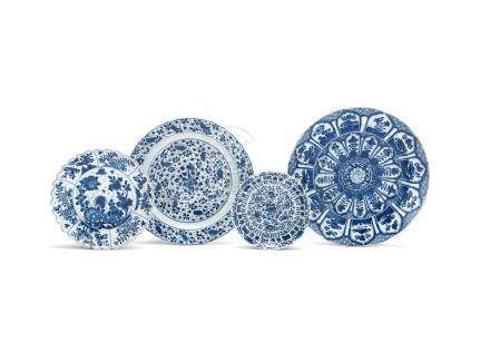 A varied group of three blue and white dishes Kangxi (4)