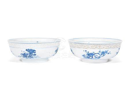 A pair of unusual blue and white bowls  Kangxi (2)