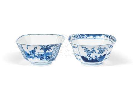 Two blue and white square bowls  Chenghua and Xuande six-character marks, Kangxi (2)