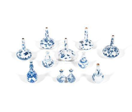 A group of blue and white 'doll's house' vases Kangxi (11)