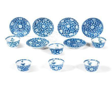 A group of six blue and white cups and saucers Kangxi (12)