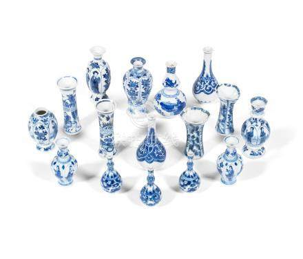 A group of blue and white 'doll's house' vases Kangxi (16)