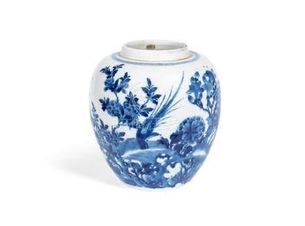 A blue and white oviform jar  Kangxi