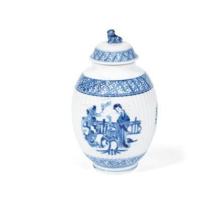 A blue and white tea caddy and cover Kangxi (2)