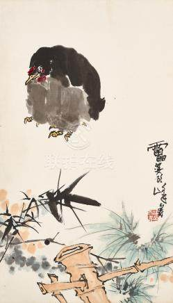Attributed to Pan Tianshou (1897 - 1971) Hen over the Fence
