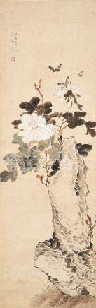 Attributed to Ju Lian (1828 - 1904) Butterfly and Peony